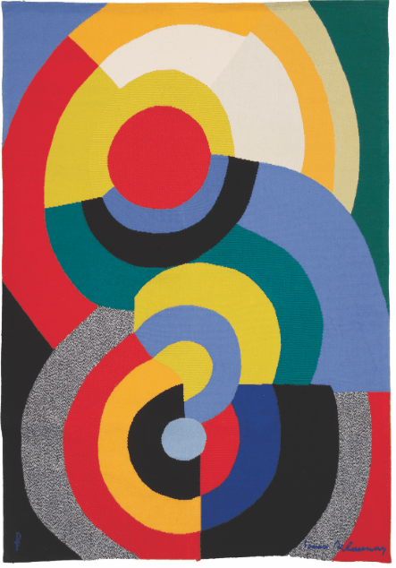 Sonia Delaunay, Rencontre, 1970 circa, tapestry produced by Pinton/Felletin, 174 x 122 cm. Milan, Moshe Tabibnia Collection